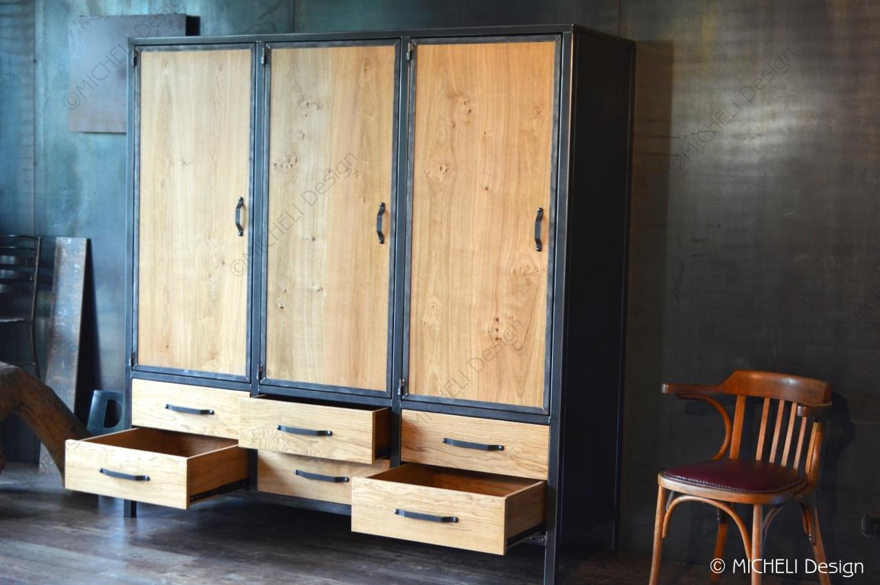 Commode Chambre Style Industriel armoire penderie de style industriel 3 portes 6 tiroirs pénates