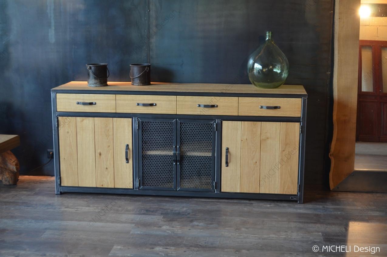 Buffet de rangement industriel 4 tiroirs / 4 portes Esculape