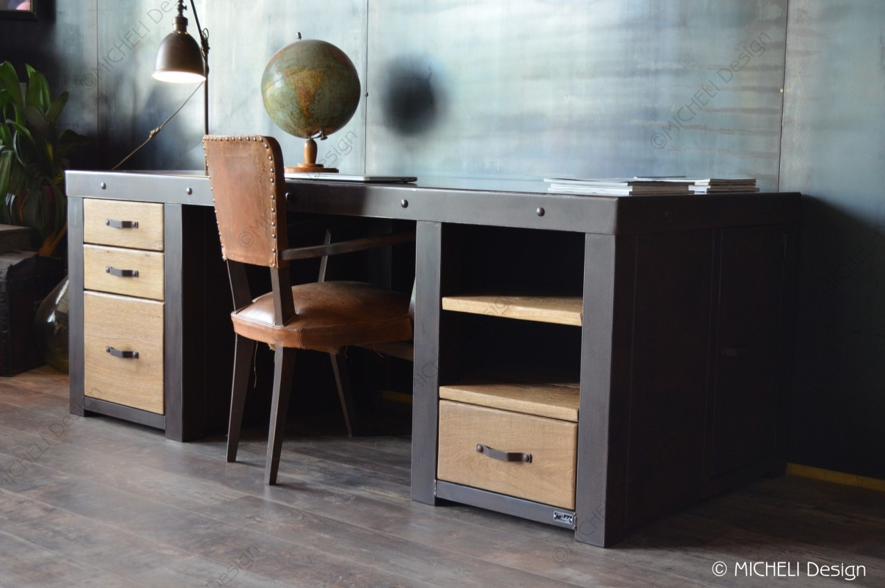 Fabriquer Un Bureau De Travail grand bureau en acier rouillé et bois massif hugo