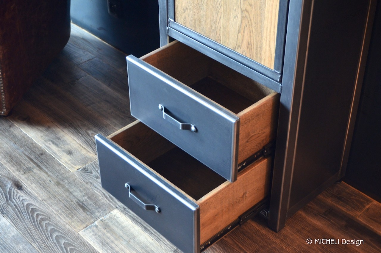Fabriquer Des Rangements En Bois colonne de rangement en bois métal noir 2 portes 2 tiroirs