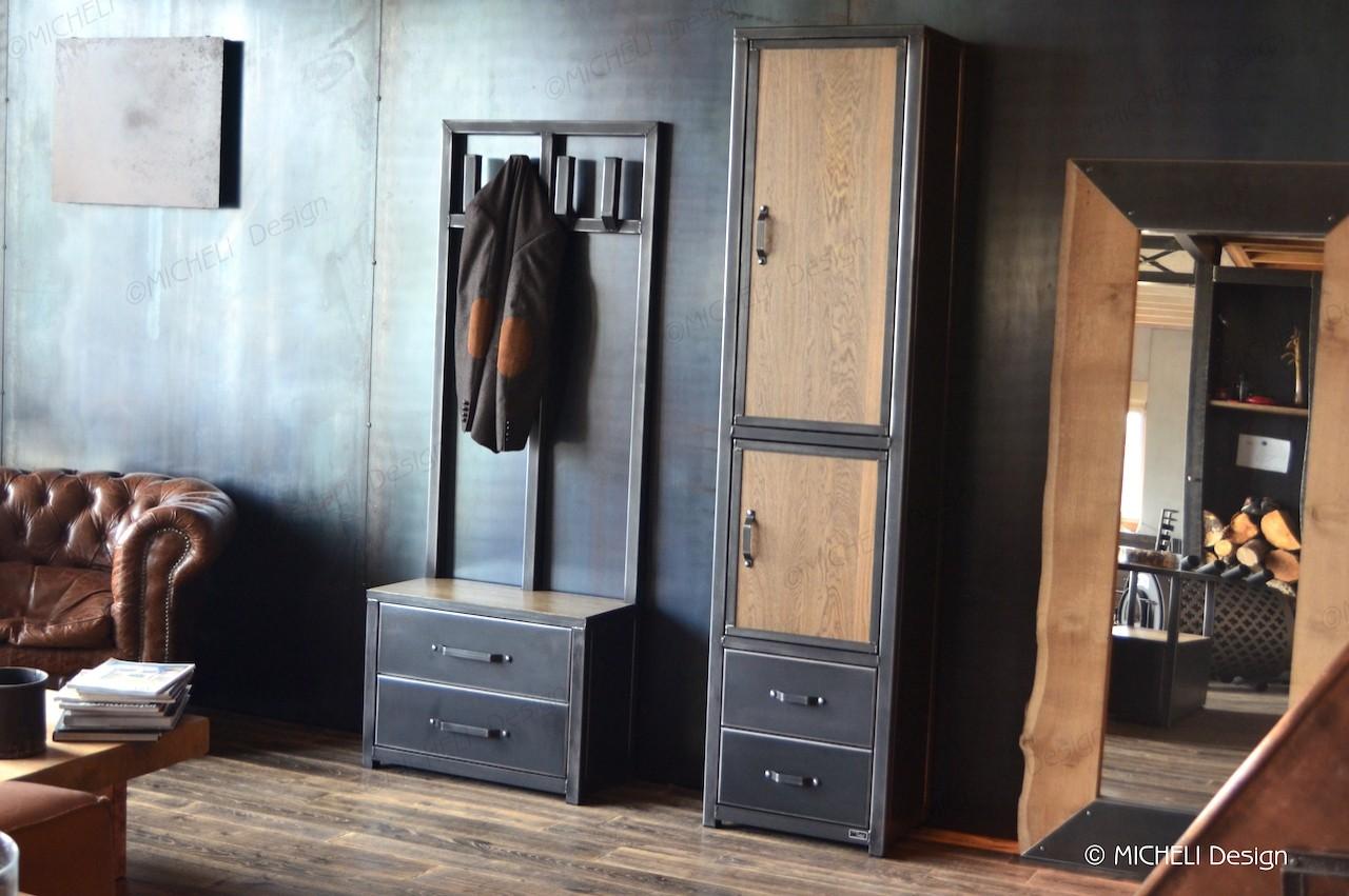 Petit Banc D Entrée Avec Rangement colonne de rangement en bois métal noir 2 portes 2 tiroirs