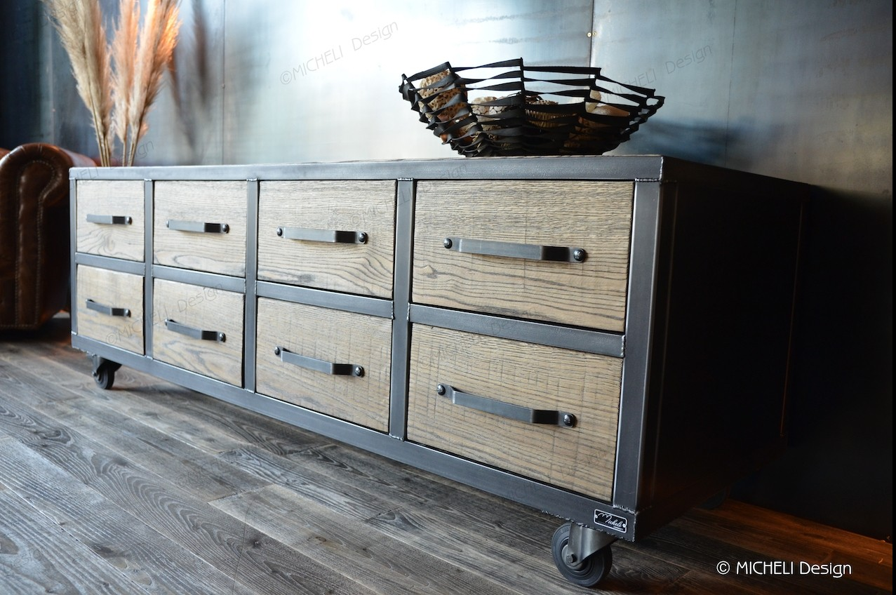 Meuble Bas De Rangement Pour Cuisine meuble de rangement bas industriel 8 tiroirs à roulettes