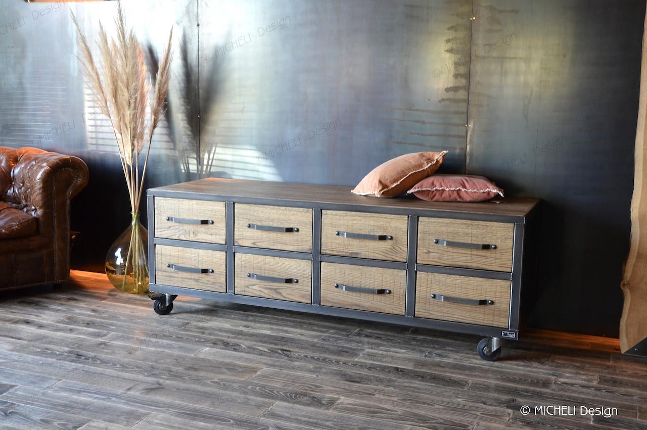 Meuble D Entrée Industriel meuble de rangement bas industriel 8 tiroirs à roulettes