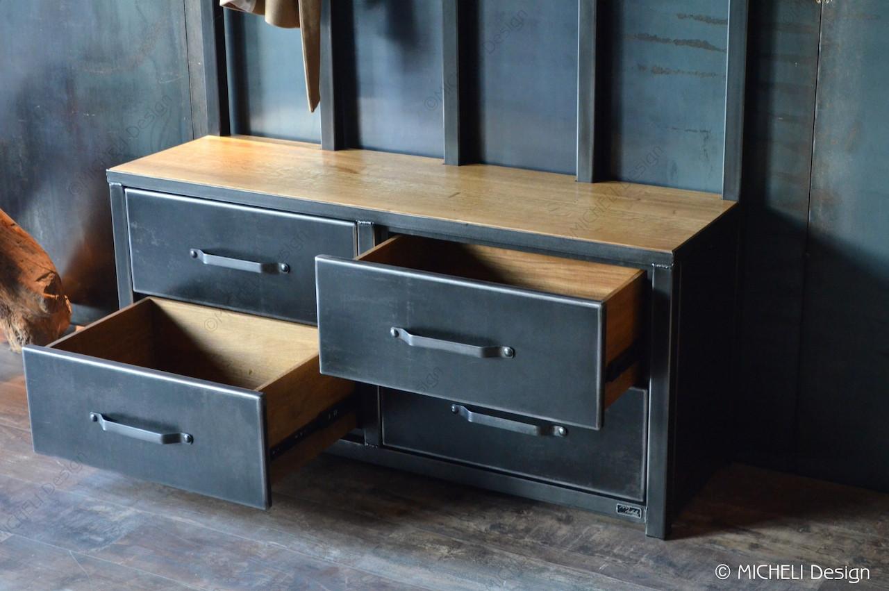 Meuble Rangement Chaussures Entree meuble d'entrée de style industriel 4 tiroirs magno | made