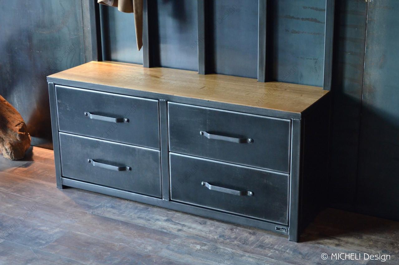 Plan De Meuble A Chaussures meuble d'entrée de style industriel 4 tiroirs magno | made