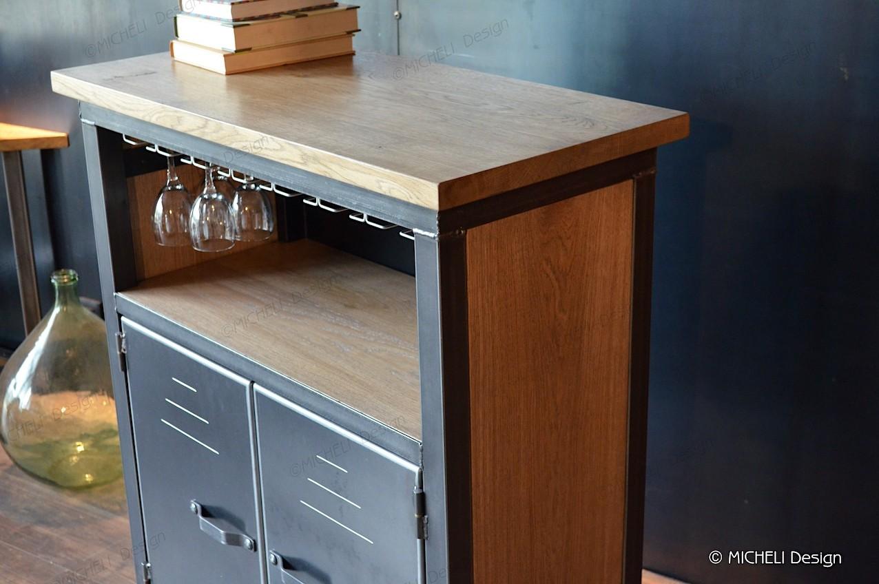 Fabriquer Un Bar En Bois meuble de bar industriel à roulettes et sur mesure laïos