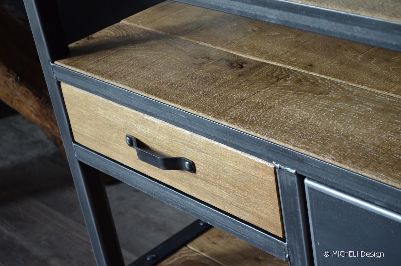 Poignée De Meuble Industrielle meuble tv industriel sur mesure 1 porte 1 tiroir 1 niche irène