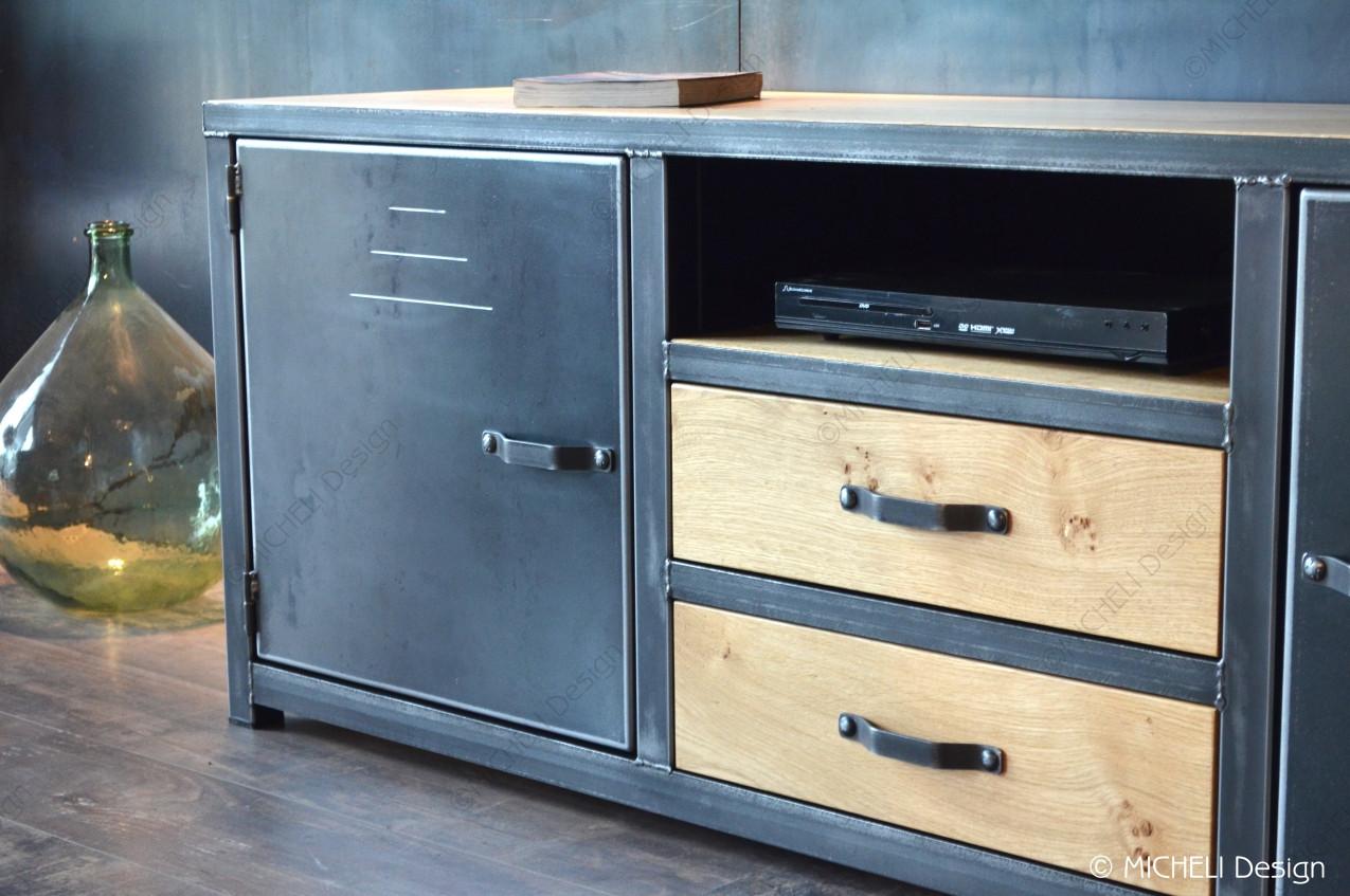 Poignée De Meuble Industrielle meuble tv bois métal industriel 2 portes 2 tiroirs palès