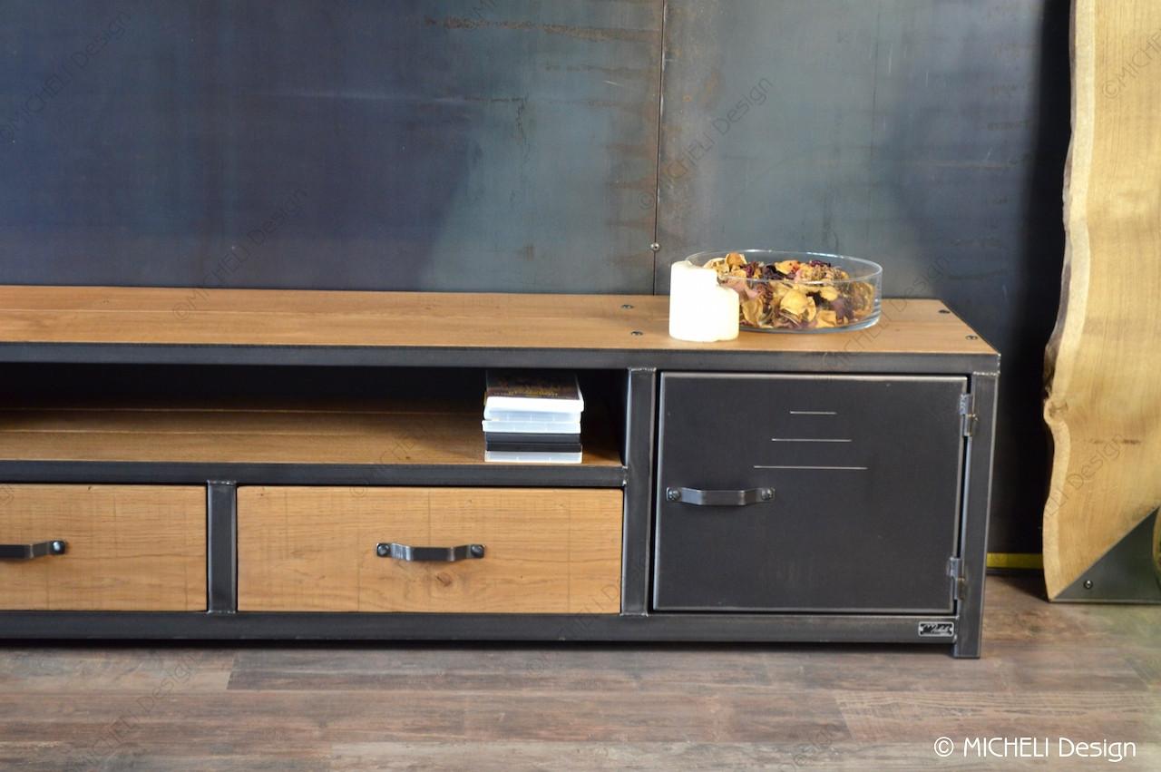 Poignée De Meuble Industrielle meuble tv industriel sur mesure 2 portes 2 tiroirs stéropès iii
