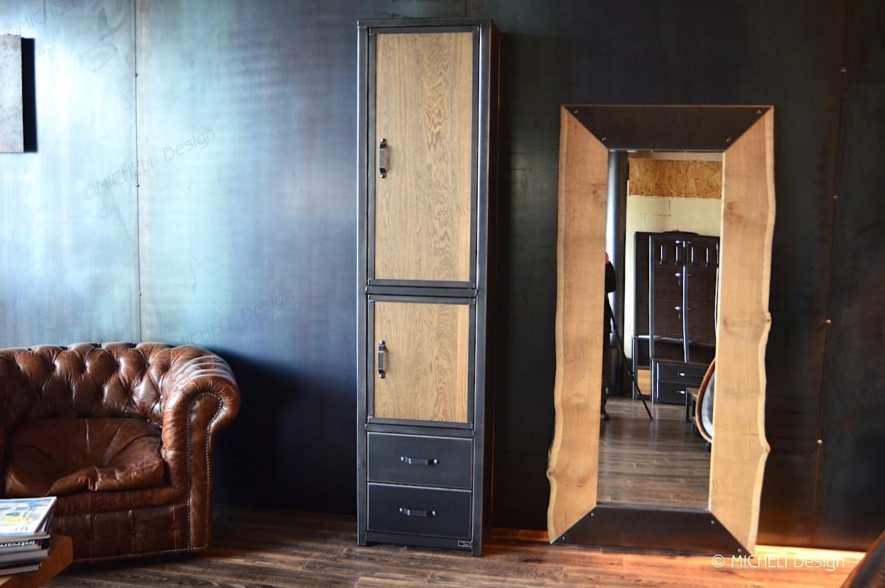 Colonne de rangement en bois métal noir 2 portes 2 tiroirs Phanès