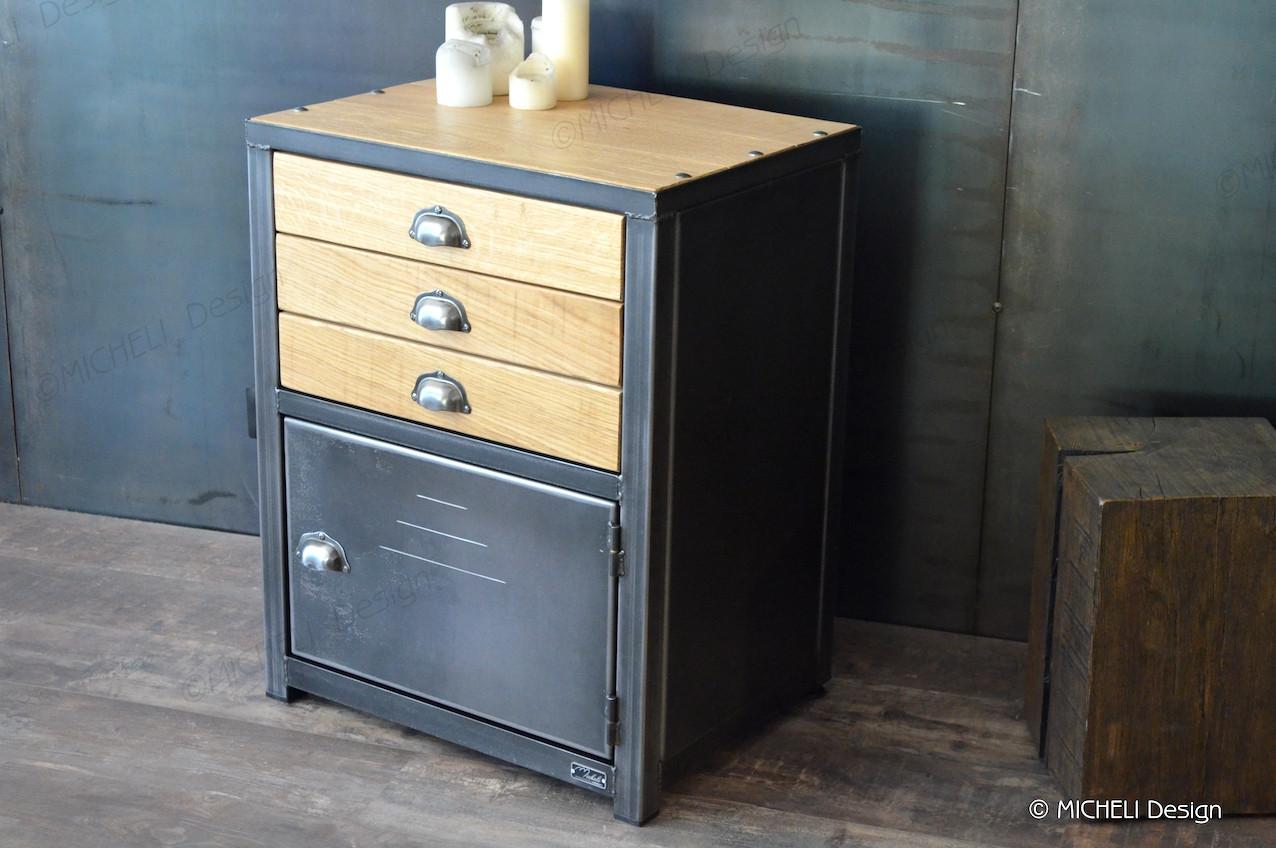Petit meuble de rangement industriel 3 tiroirs sur-mesure Ops