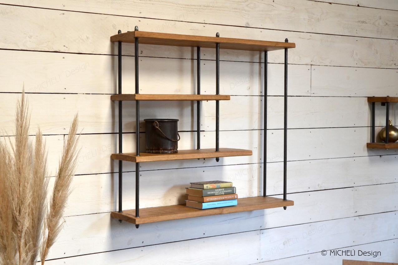 petitte tag re murale industriel en bois et m tal sur mesure. Black Bedroom Furniture Sets. Home Design Ideas