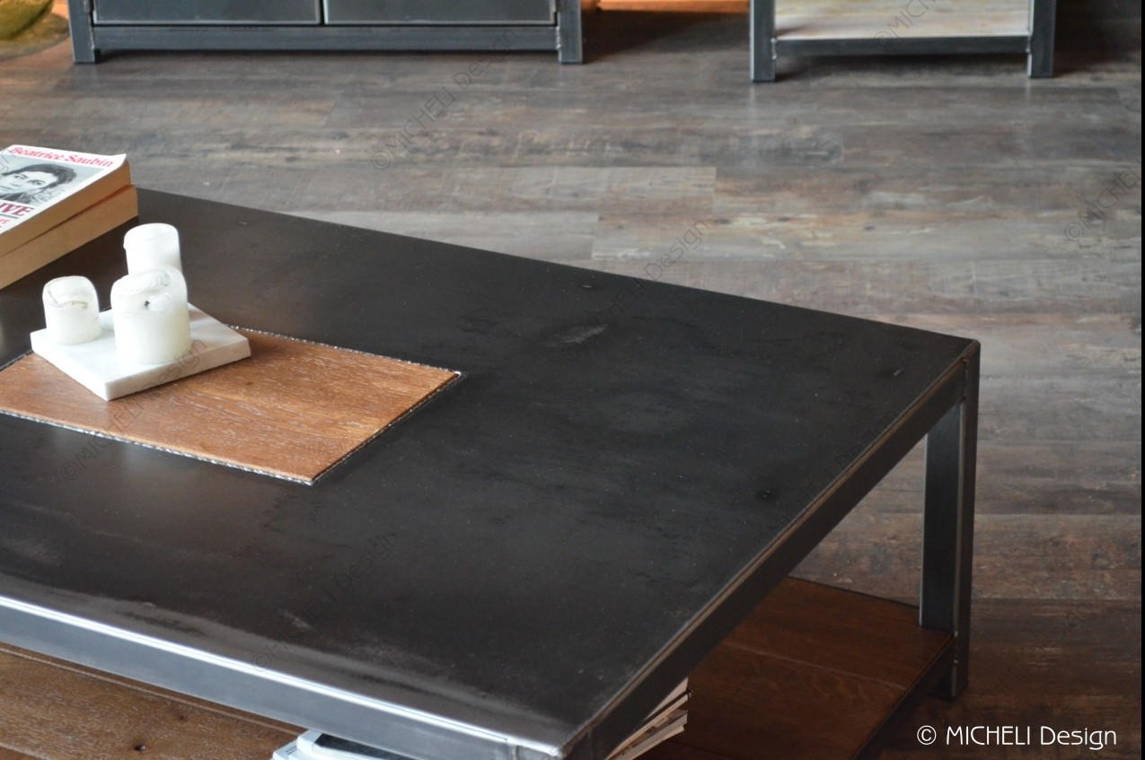 Table Basse Rectangle Sur Mesure En Bois Et Metal Noir Terra