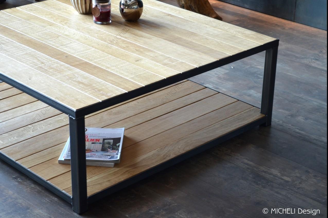 Grande Table Basse Bois table basse carrée de style industriel 2 plateaux bois 110 x