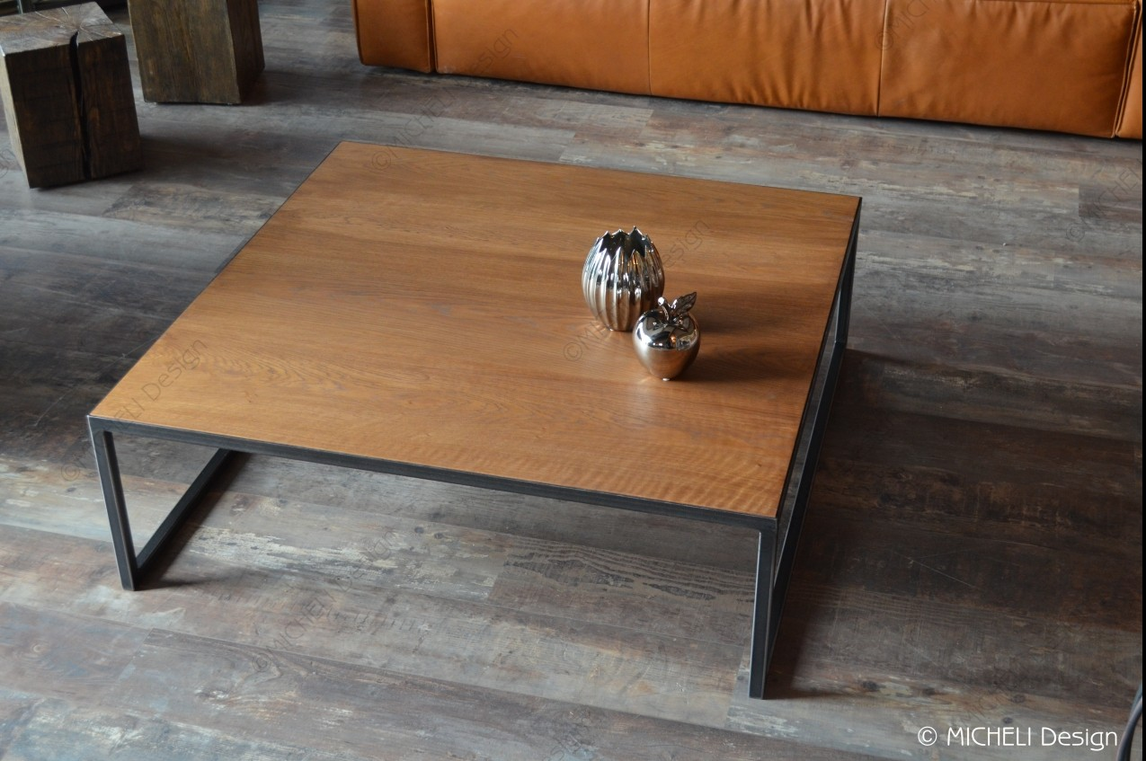 Table Basse Contemporaine Carrée Sur Mesure Bébryce