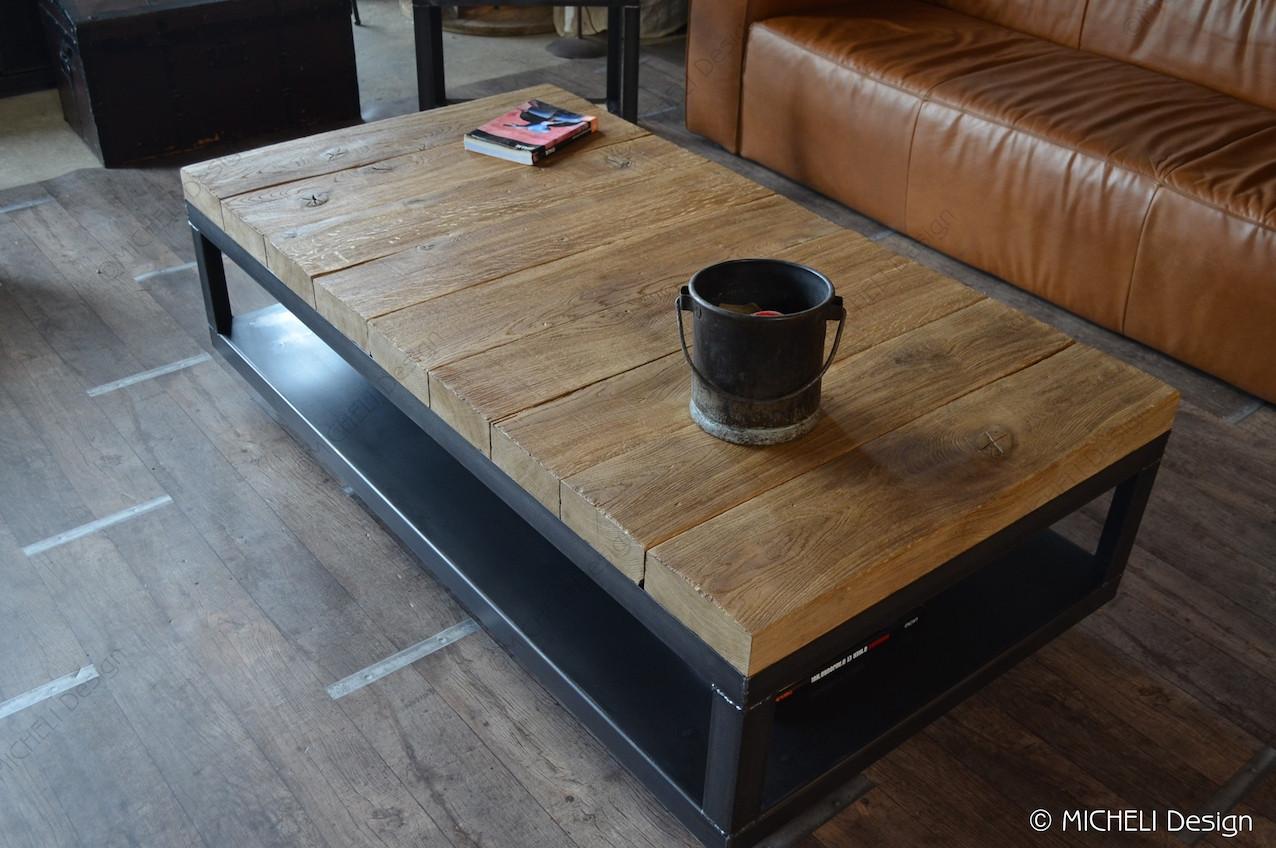 métal Cybèle chêne Table massif poutre basse en anthracite de b6gvIYf7y