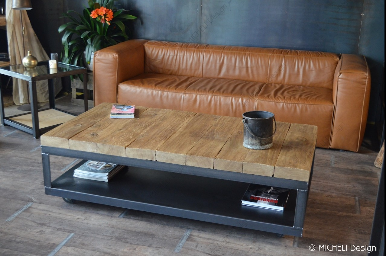 Table Basse En Poutre De Chene Massif Metal Anthracite Cybele