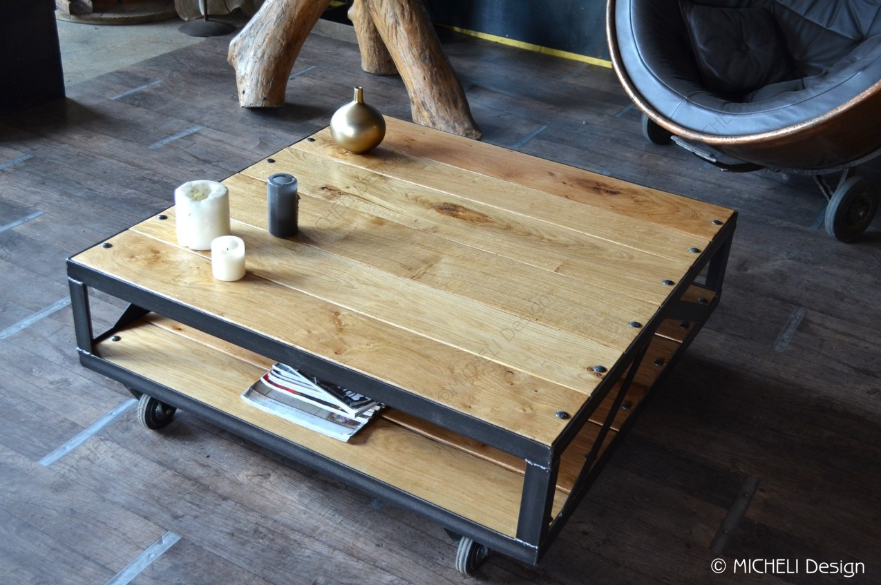 table basse industrielle roulettes rachelina made in. Black Bedroom Furniture Sets. Home Design Ideas