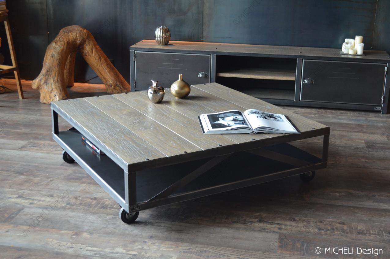 Grande Table Basse Bois table basse industrielle à roulettes en bois gris et métal