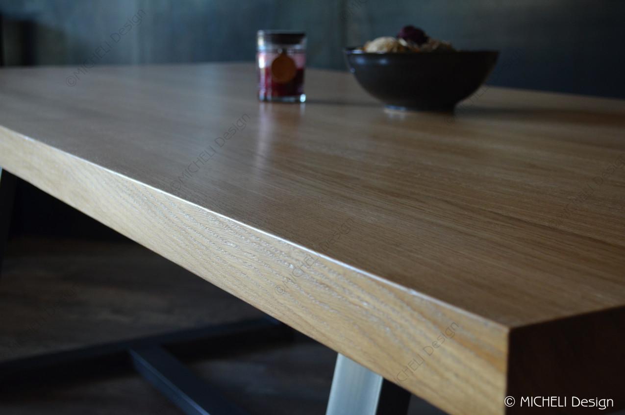 Table Repas 2 Personnes table rectangulaire 8-10 personnes en bois et métal noir trapèze
