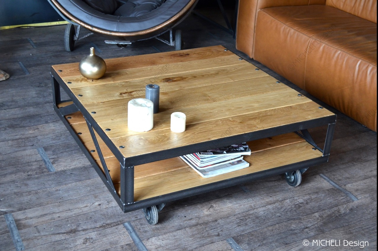 Table Basse Industrielle A Roulettes Rachelina Made In France