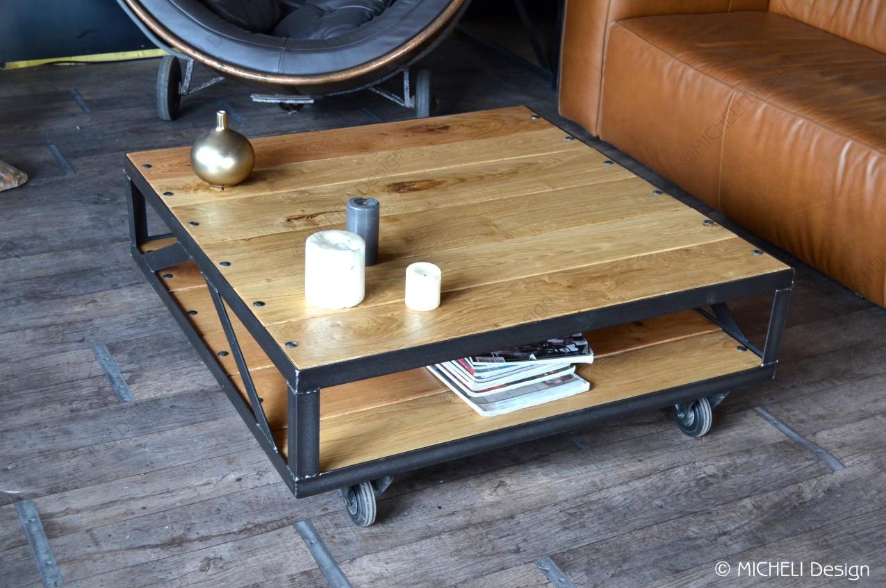 Caisse Bois À Roulettes table basse industrielle à roulettes rachelina | made in france