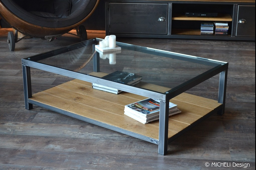 Table Basse Salon Plateau Verre
