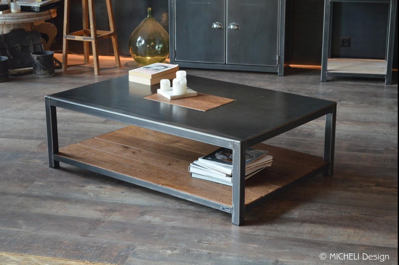 Table Basse Rectangle Sur Mesure En Bois Et Metal Noir Terra