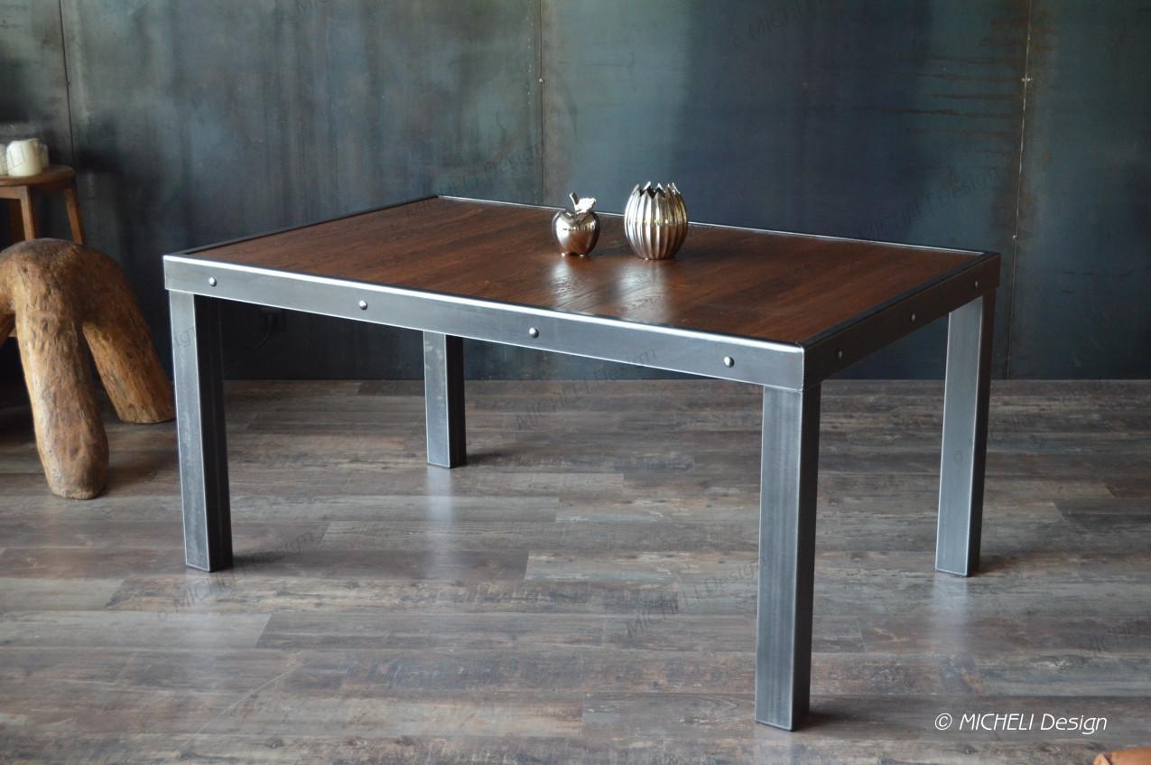 Table Style Industriel En Bois Et Metal Alpos Fabrication
