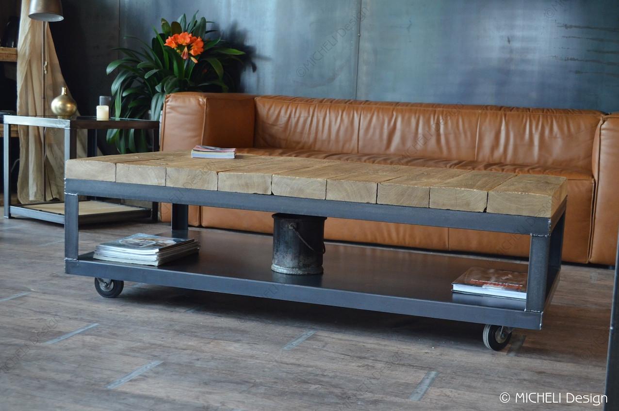 Basse Cybèle Chêne En Table Anthracite De Poutre Massif Métal 0nXOw8Pk