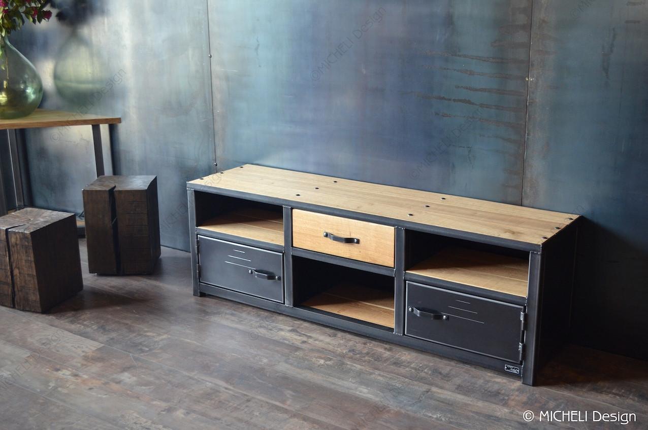 bbf1f1515dcb0 Meuble tv industriel bois métal noir sur-mesure - LUPERCUS - 194655