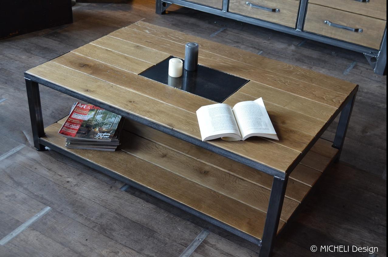 Table Basse Industrielle Bois Et Metal Noir Sur Mesure Arte