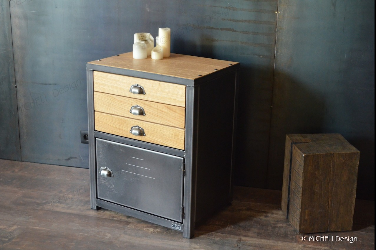 Meuble D Entrée Industriel petit meuble de rangement industriel 3 tiroirs sur-mesure ops