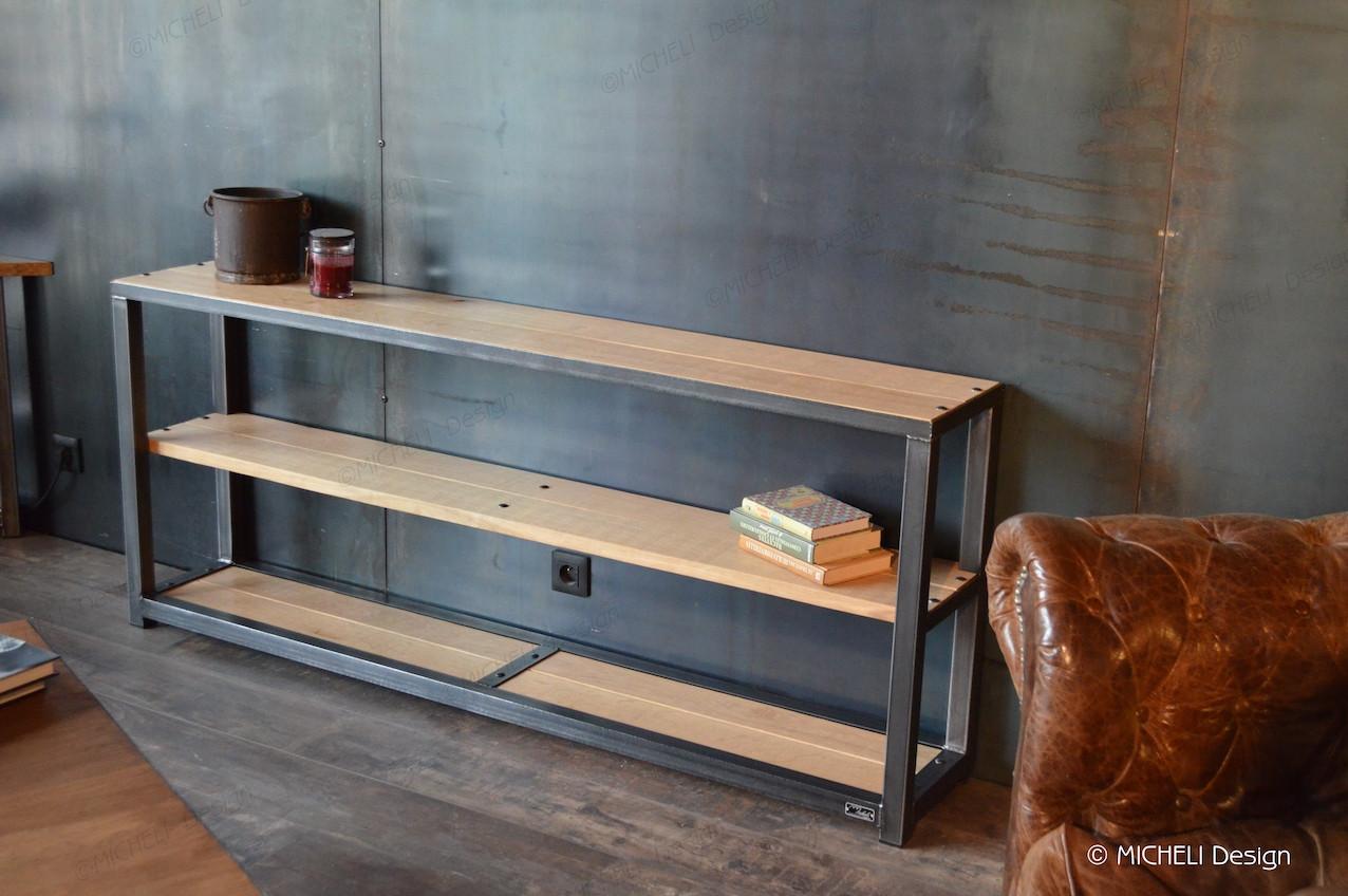 Meuble De Cuisine Bois Et Metal console en bois et métal noir industriel sur-mesure moires